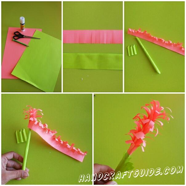 Из розовой и зелёной бумаги вырезаем 2 полосы. На розовай полоске делаем множество надрезов.Зелёной полоской обматываем карандаш склеиваем,затем вытягиваем карандашик. Загибаем наши надрезы на розовой полоске и начинаем накручивать и наклеивать сверху стебелька. Доклеиваем листочек и готово!