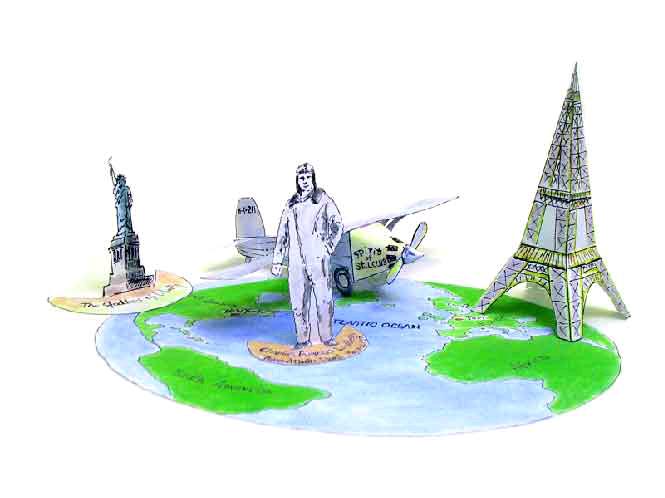 Чарльз Линберг-лётчик, ставший первым, кто перелетел Атлантический океан в одиночку в 1927 году по маршруту Нью-Йорк - Париж. Сделать бумажные фигирки этого лётчика, а также Эйфелевой башни и Статуи Свободы, вы можете прямо сейчас, предварительно только скачав пошаговую схему на нашем сайте.