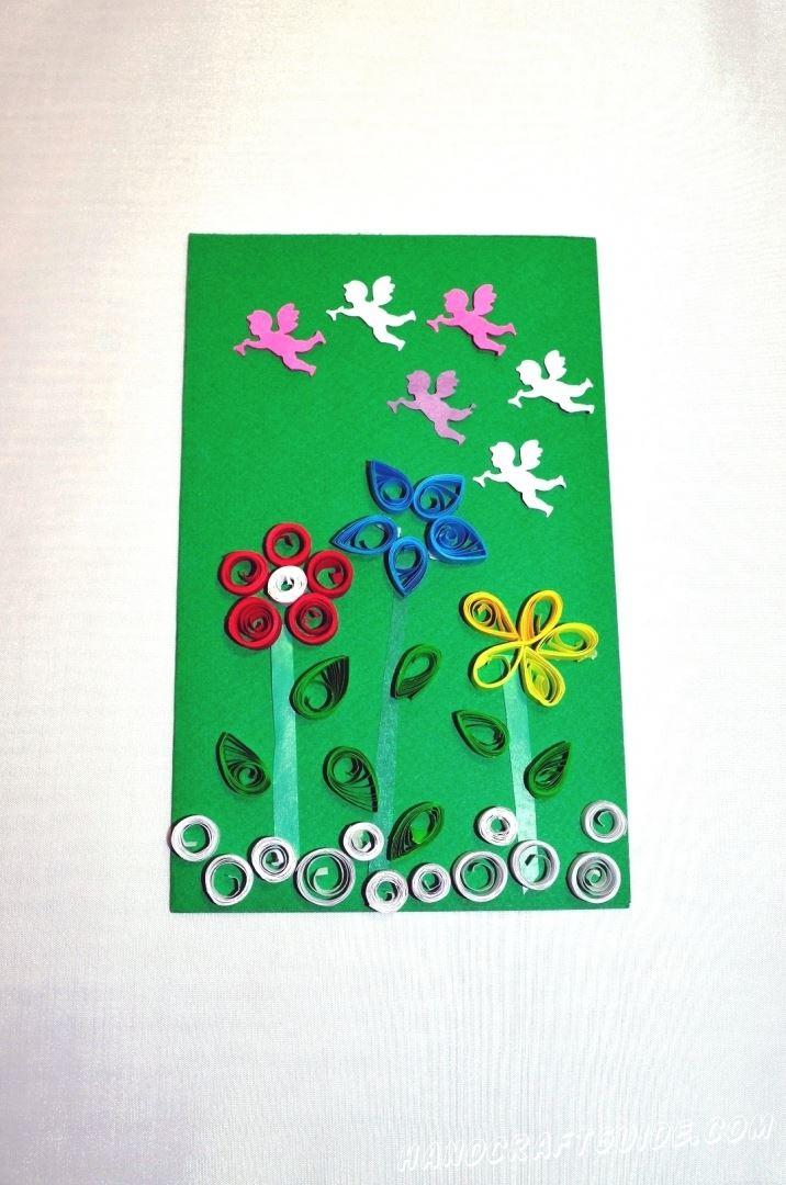 Учимся делать весеннюю картину-квиллинг с красивыми цветными цветочками.