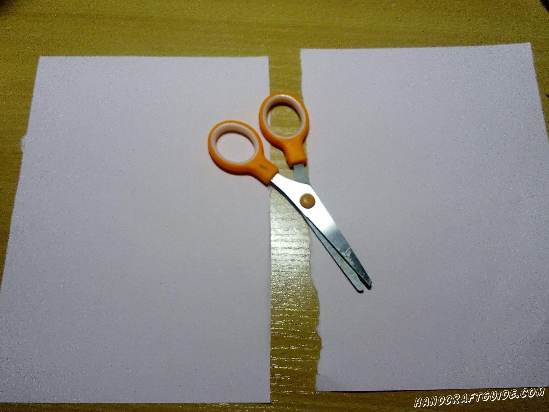 Белый лист формата А4 разрезаем пополам. Одна половинка нам послужит фоном