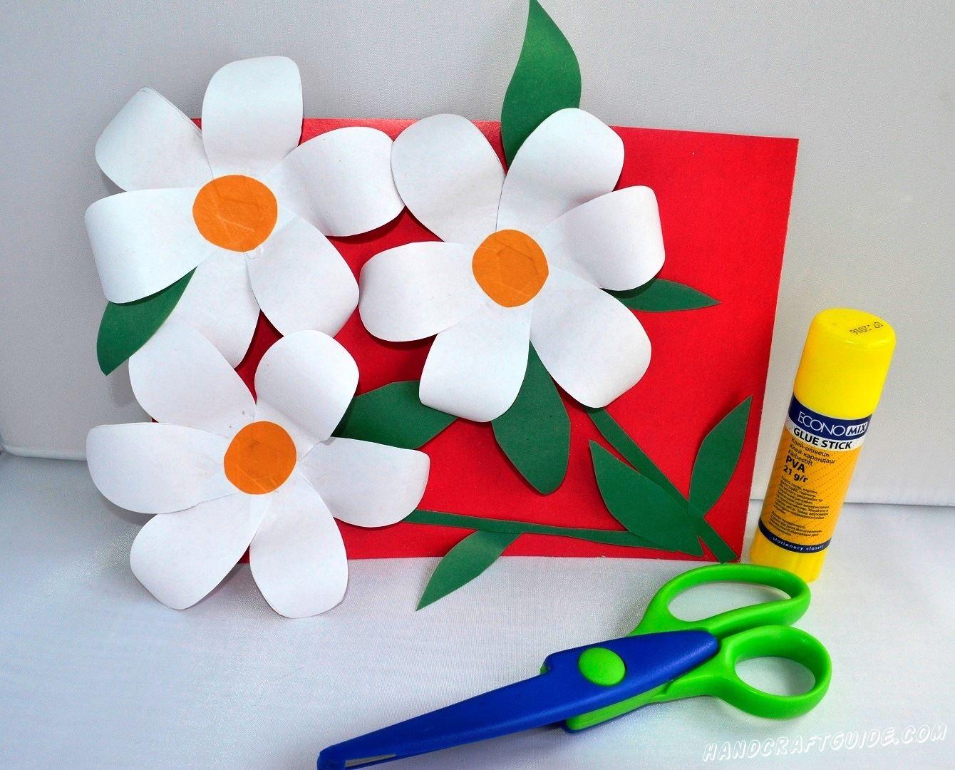 открытка своими руками цветы из бумаги