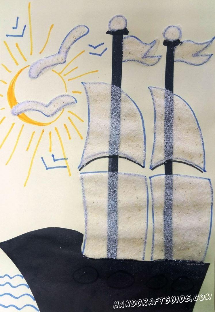 картина корабля с парусами из манки для детей