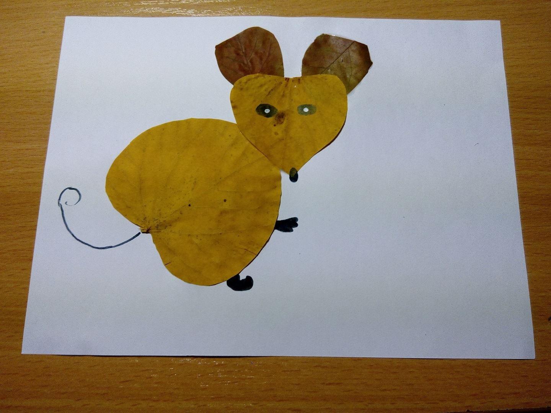 осенняя мышка из листьев аппликация