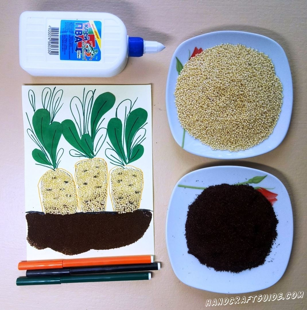 аппликация из крупы и кофе морквы