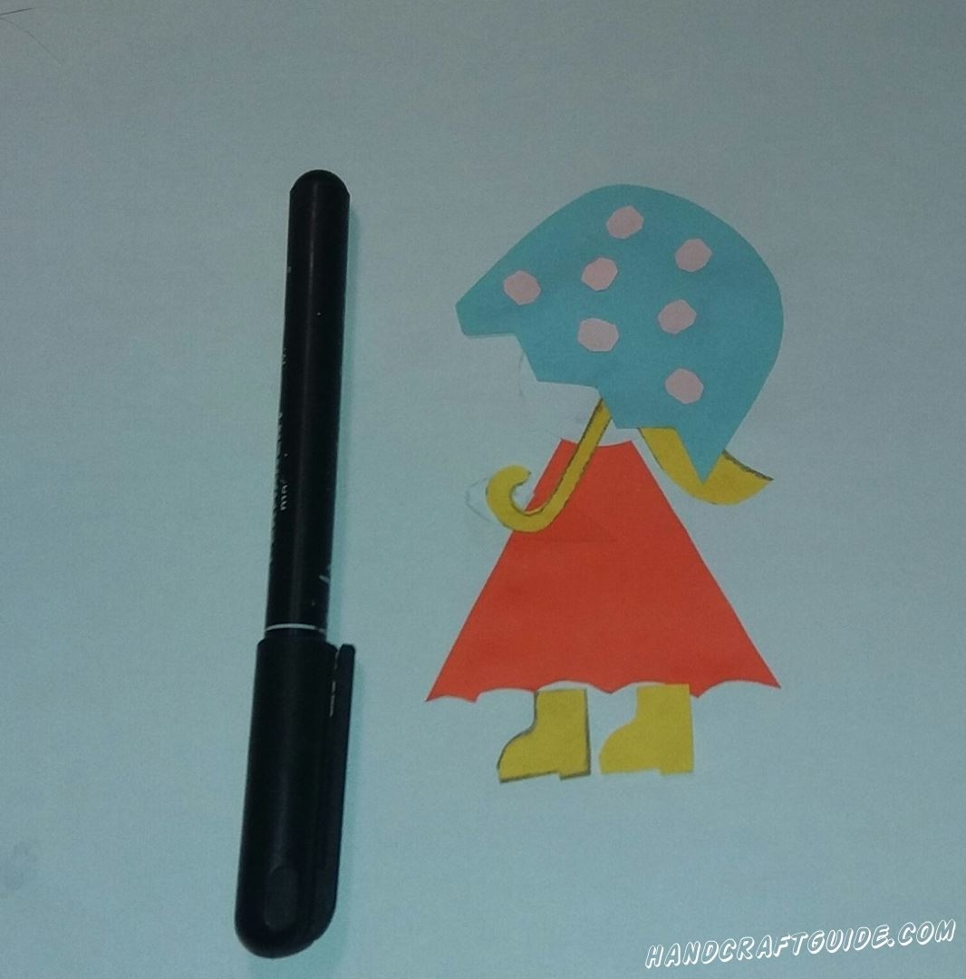 аппликация для самых маленьких девочка с зонтиком