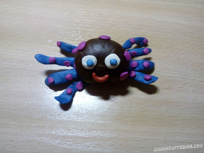 игрушка из каштана и пластилина своими руками паук