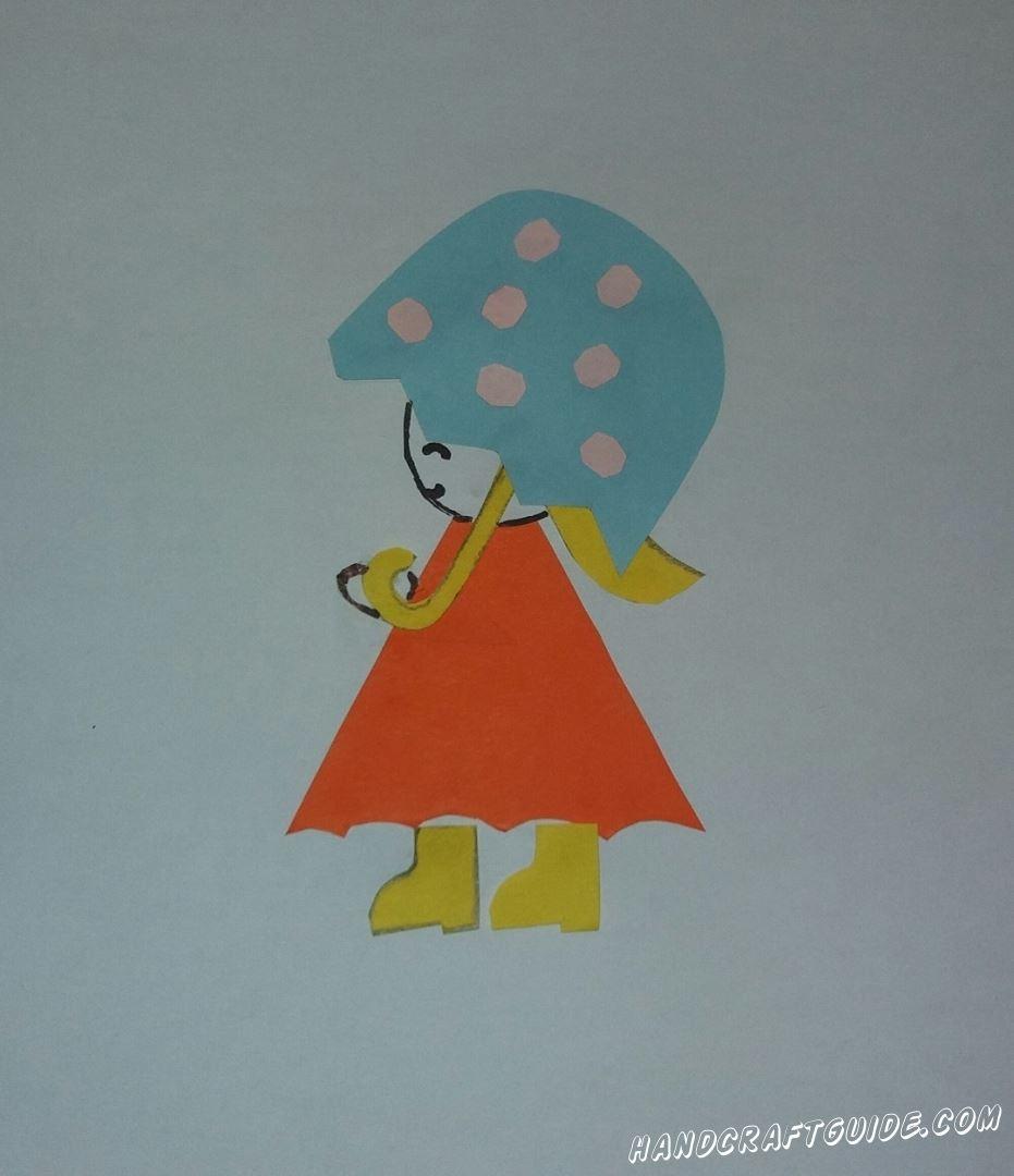 девочка под зонтиком аппликация для самых маленьких из бумаги