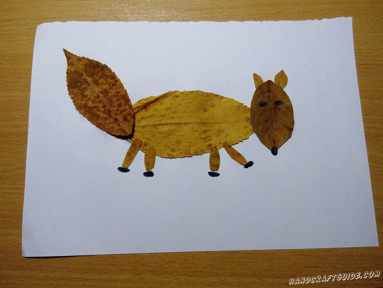 аппликация лиса из осенних листьев