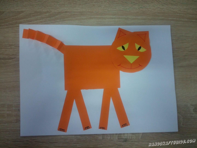 Давайте скорее сделаем замечательного котика из цветной бумаги, своими руками.