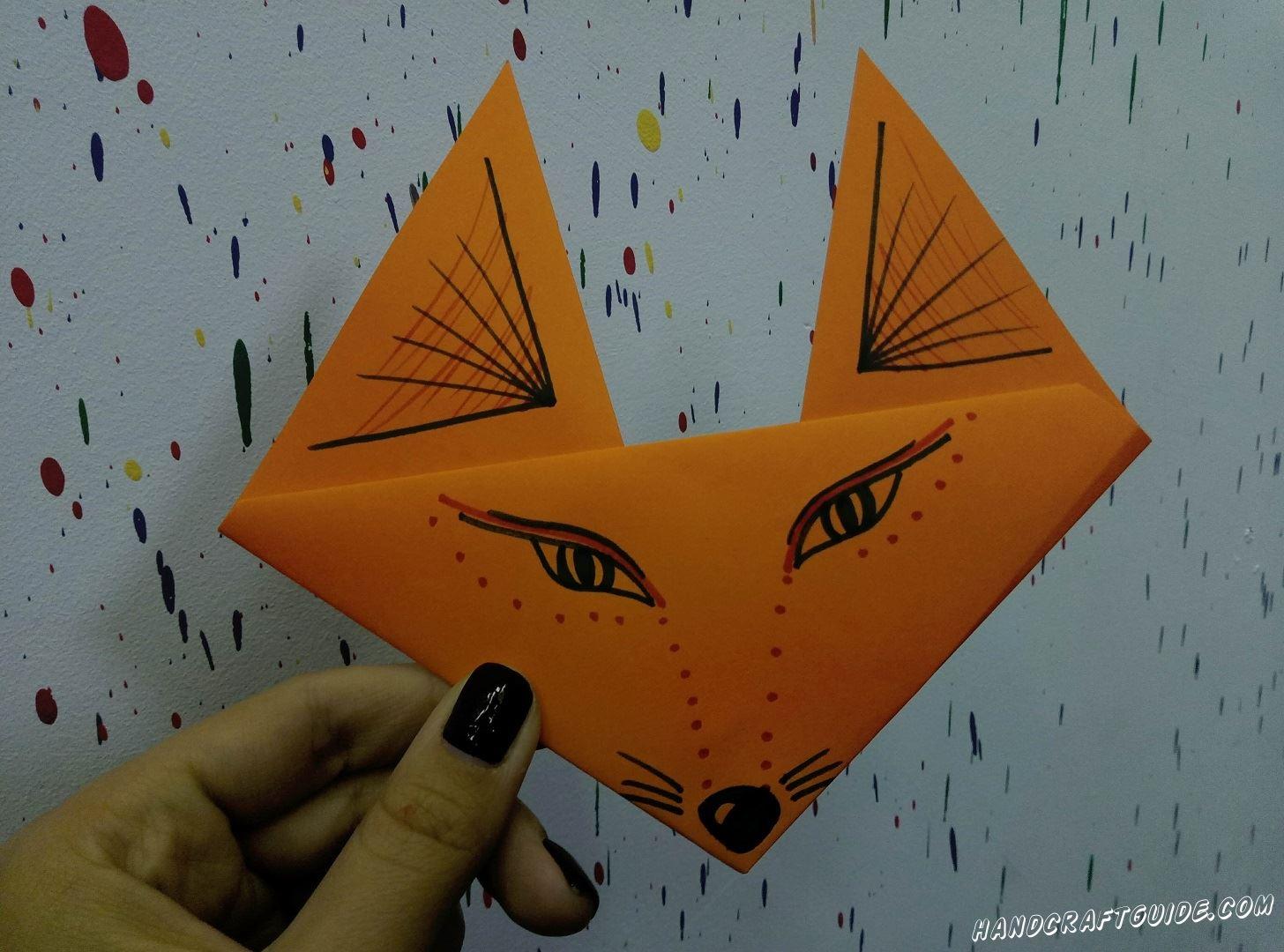 Изучаем технику оригами вместе. Сейчас мы сделаем лисенка из цветной бумаги, одними только сгибами.