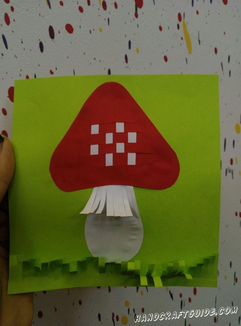 аппликация из бумаги гриб мухомор