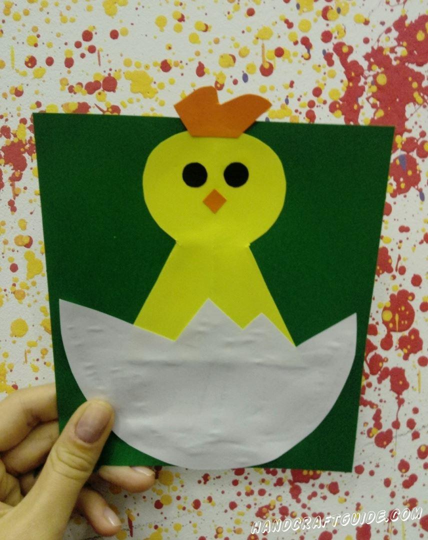 Цыплёночек только вылупился, а уже такой красивый и милый. Давайте и себе сделаем такую аппликацию из  цветной бумаги.