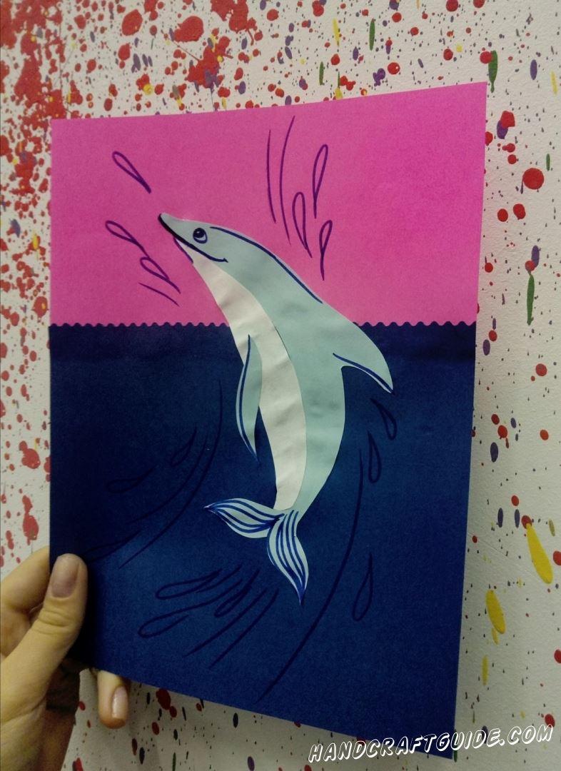 """Аппликация """"Дельфин"""" из цветной бумаги, станет настоящим украшением вашей коллекции поделок!"""