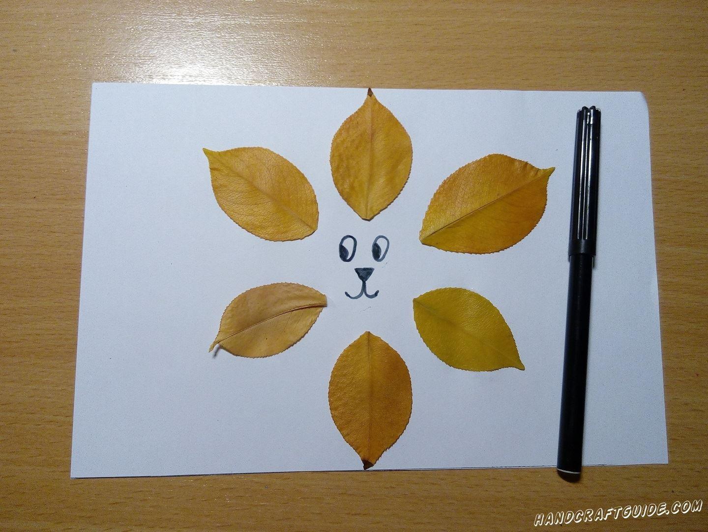 очень легко аппликация из осенних листьев лев