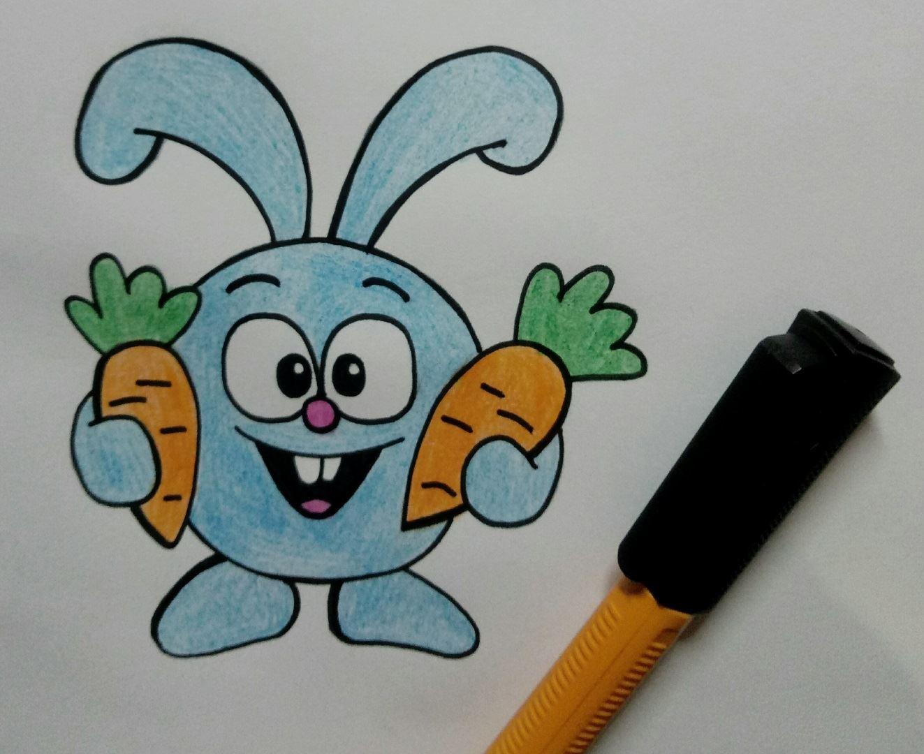 """Рисуем замечательного Кроша, из любимого всем мультсериала """"Смешарики""""  Повторяем каждую картинку и делаем мультфильмы своими руками."""
