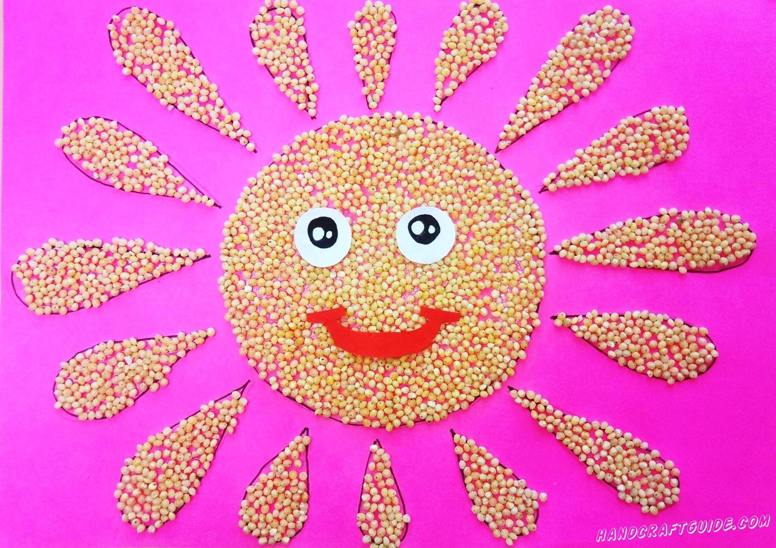 аппликация солнца из пшеничной крупы