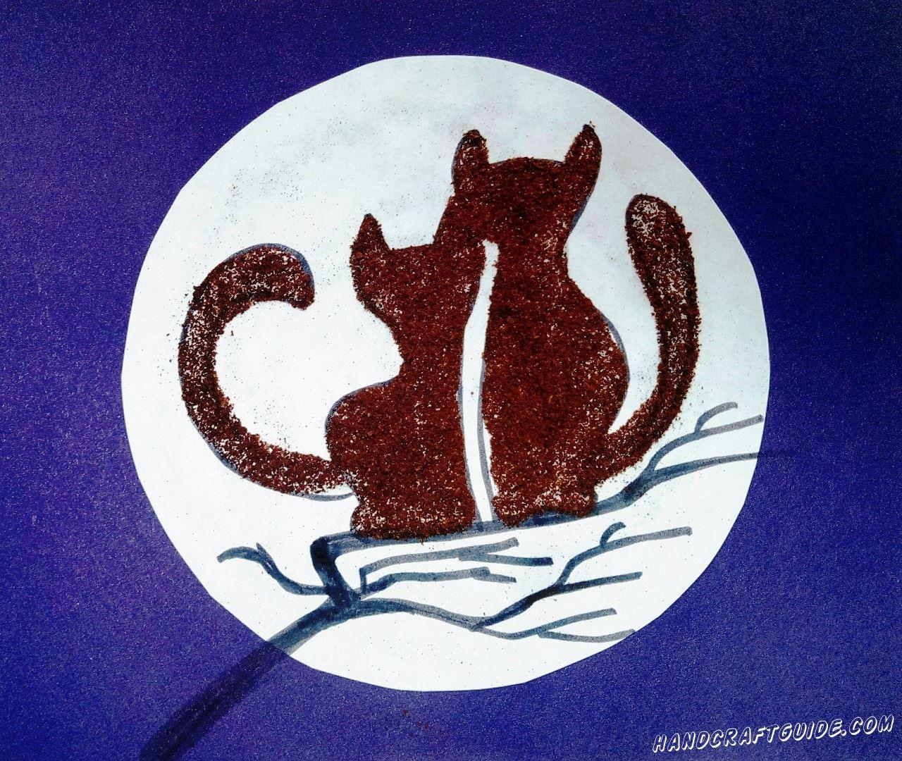 Влюблённые котики сидящие на веточки при свете луны, что может быть романтичнее?