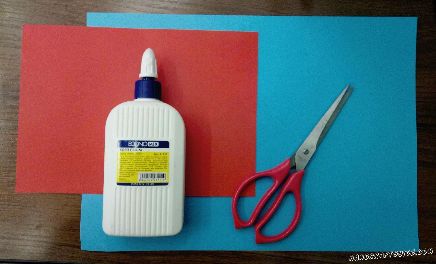 Для выполнения данной поделки нам понадобится: Цветная бумага,картон Ножницы Клей Фломастеры (Карандаши)