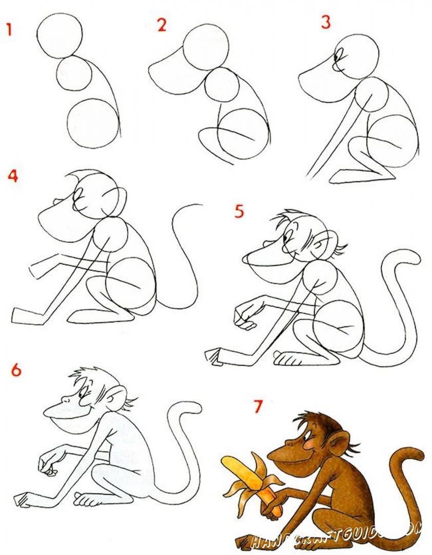 картинка обезьяны для срисовки