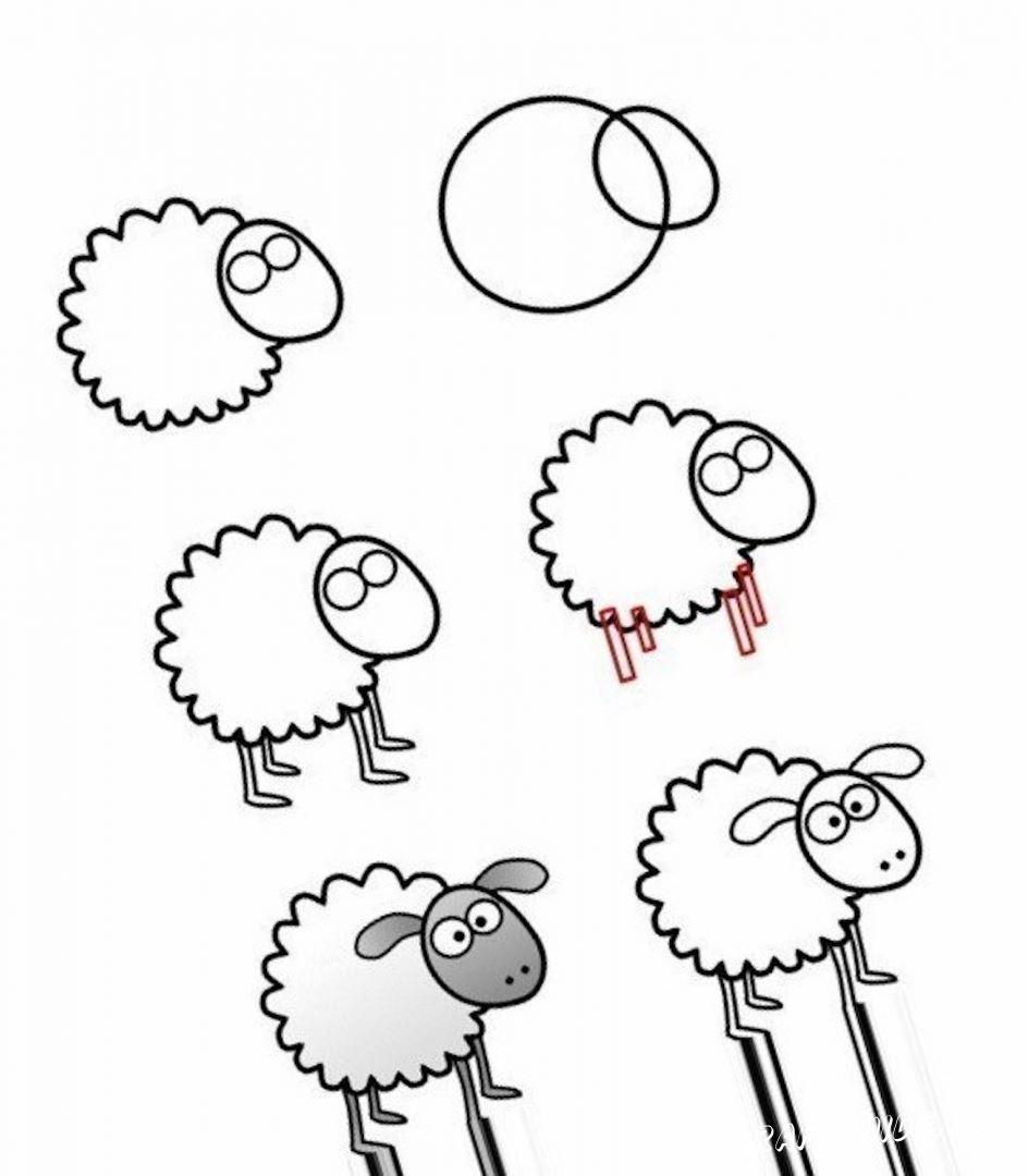 простой рисунок овечки