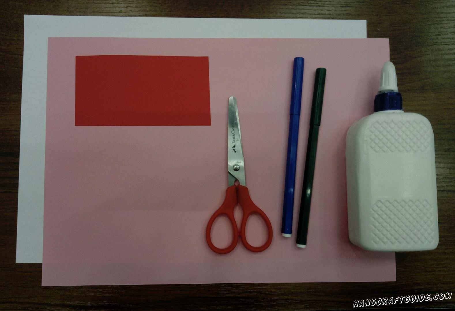 Для выполнения данной поделки нам понадобится: Цветная бумага Ножницы Клей Фломастеры Белая бумага
