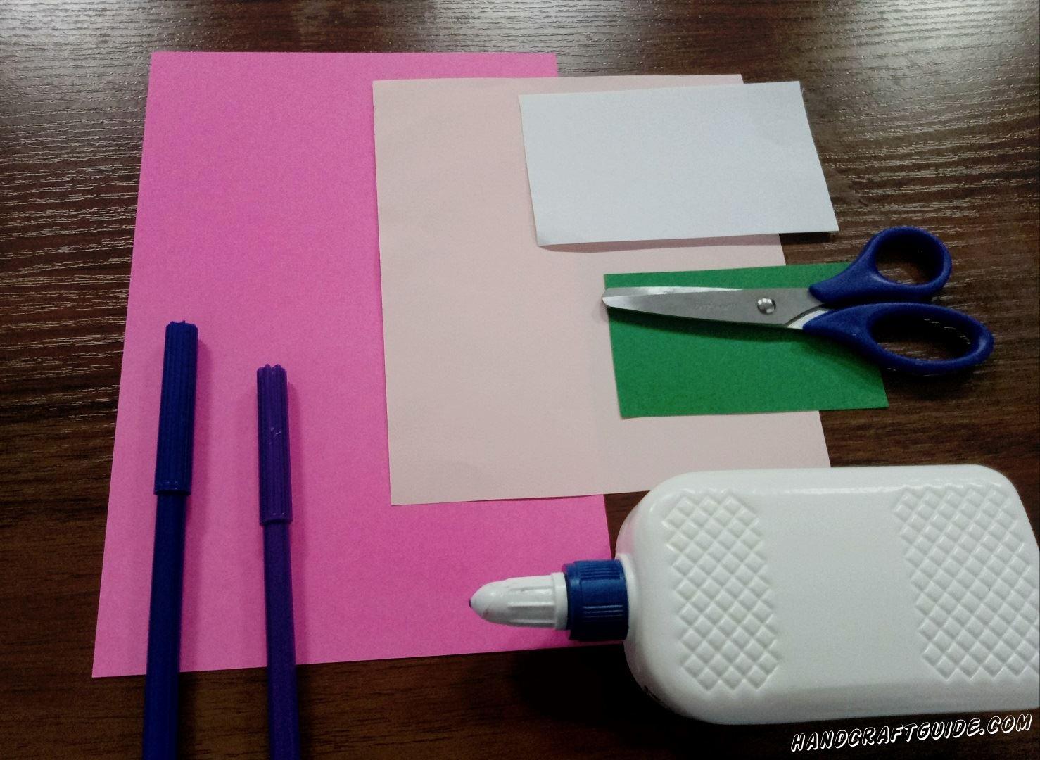 Для этого нам понадобится:  Цветная бумага: розовая,зелёная,белая, желтая, оранжевая Клей ПВА Ножницы