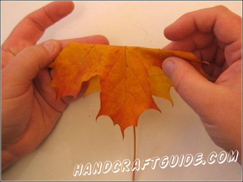 Make the middle of the future rose. In order to make it roll a maple leaf folded in half like it's shown on the image.