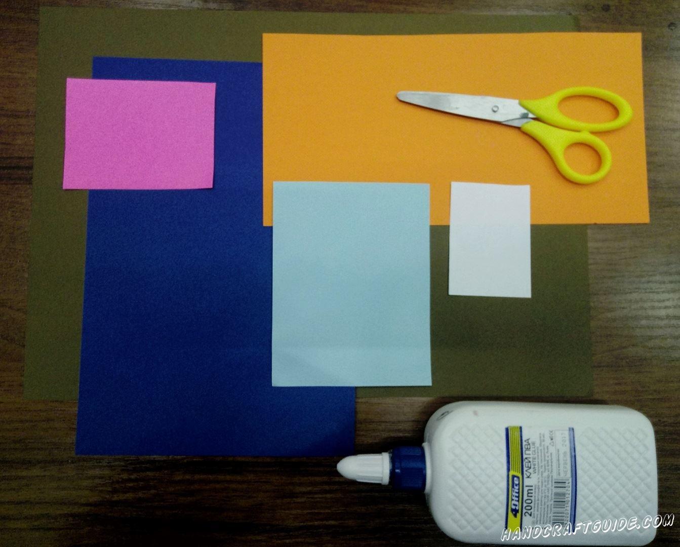 Для этого нам понадобится: Листы цветной бумаги : синий, коричневый, голубой , розовый , оранжевый , белый Ножницы Клей ПВА Фломастеры