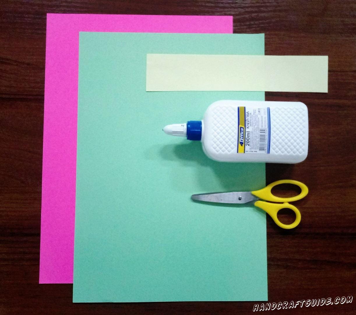 Для этого нам понадобится:  Цветная бумага: бирюзовая, сиреневая, светло-желтая  Клей ПВА Ножницы