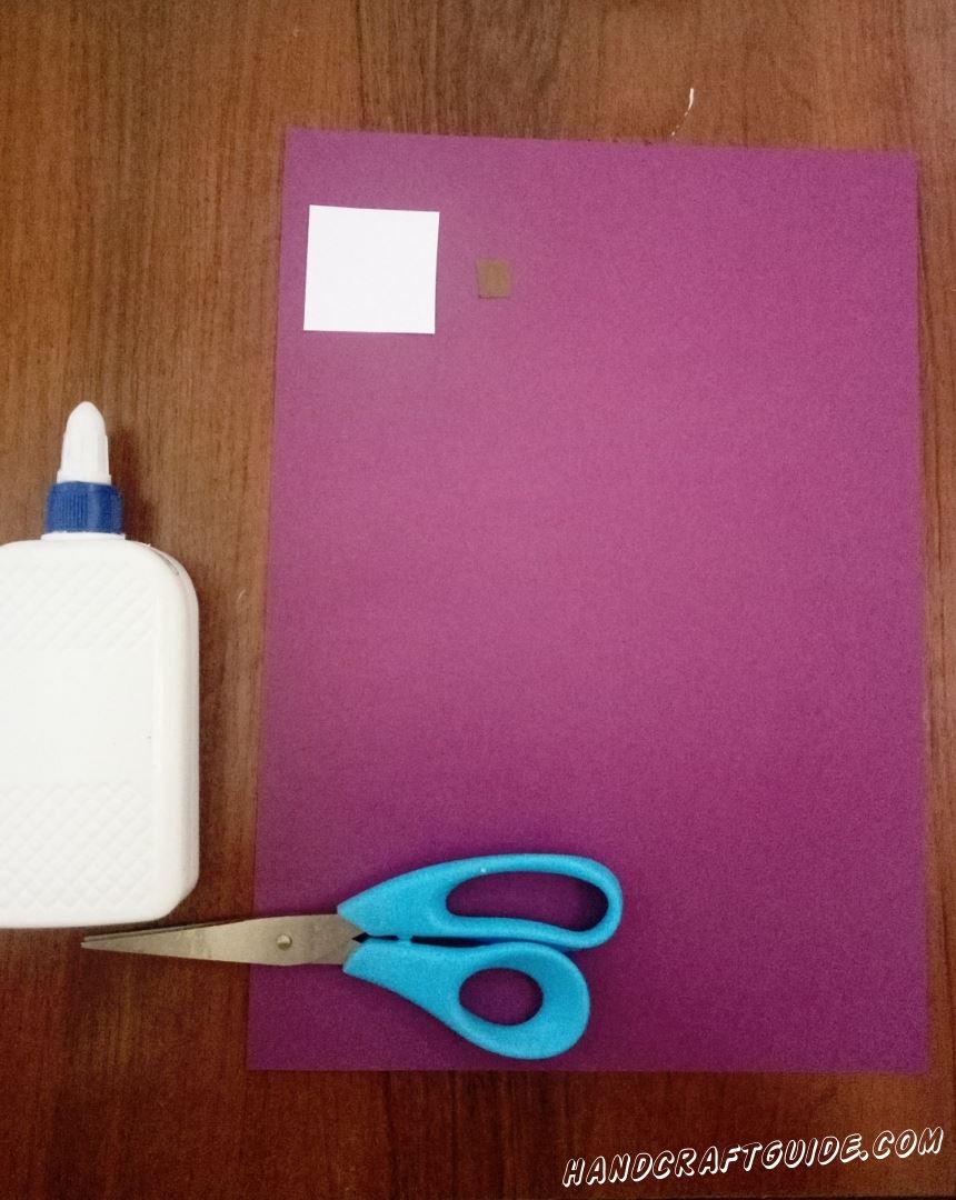 Для этого нам понадобится: Цветная бумага: фиолетовая,коричневая, белая  Ножницы Клей ПВА