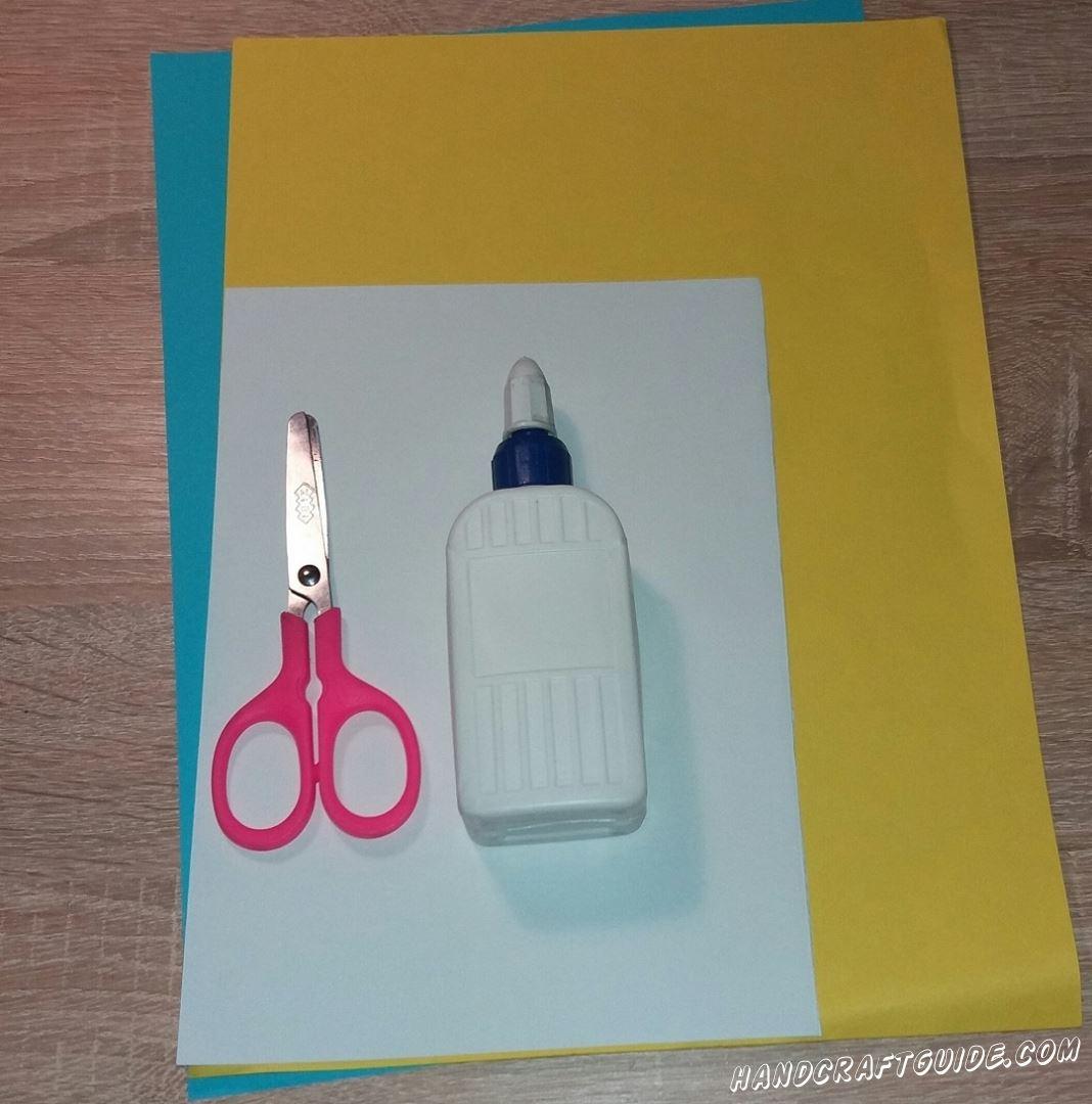 Для этого нам понадобится: Цветная бумага Клей ПВА Ножницы