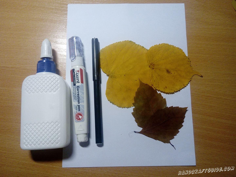 очень легкая аппликация из осенних листьев