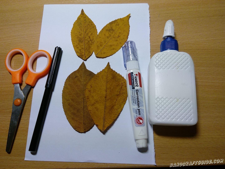 как сделать бабочку из осенних листьев