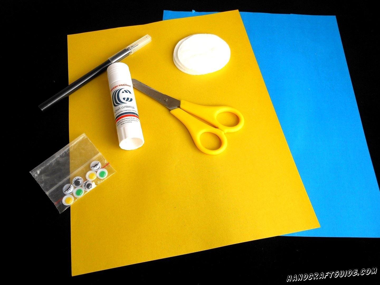 А понадобится вам:  Цветная бумага Цветной картон Ножницы Клей Ватные диски Цветные фломастеры