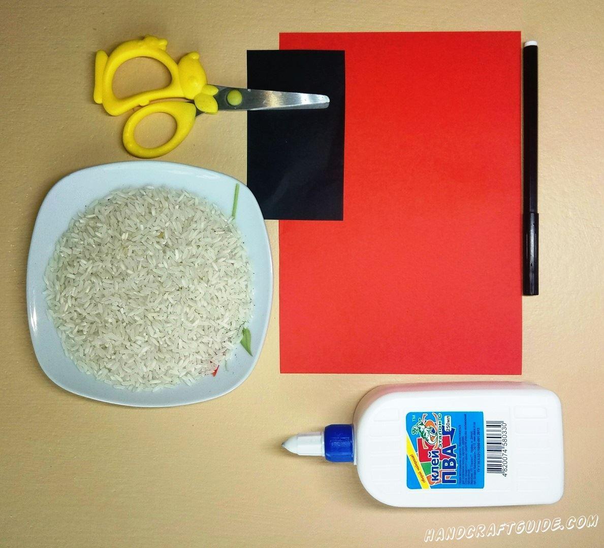 аппликация из риса