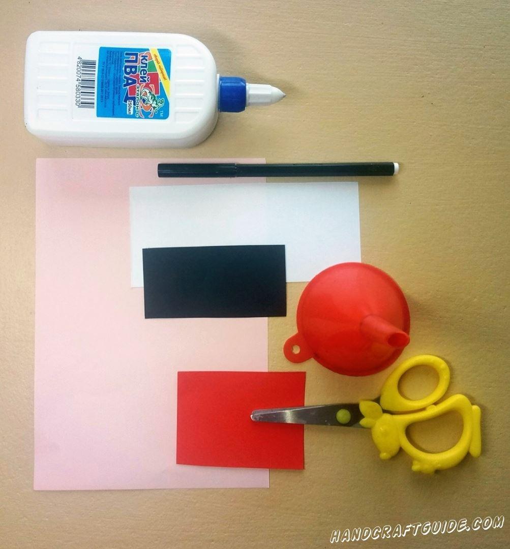 Нам пригодится:  Цветная бумага Ножницы Клей Фломастеры Лейка