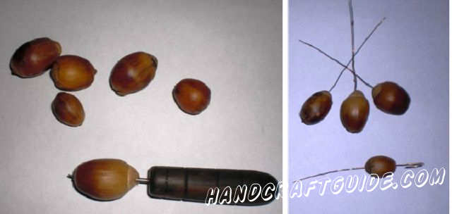 Make the holes on both sides of each acorn with the awl. Do it carefully twisting the awl inside of the acorns. Put the wire through the first acorn so that it forms a tiny eyelet, which you pass through the bottom hole. At the same time the tine eyelet rests inside of the acorn, so, it keeps the acorn on the wire.