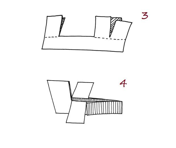 От верхнего правого края самолетика также прочертите ровную линию вверх 4 см. От ее конца 4 см влево и соедините с бортом самолетика. Разделите эти 4 см пополам и проведите линию вниз до борта самолетика. Позже нам надо будет разрезать эту линию. Теперь возьмите небольшой кусочек бумаги. Согните его пополам. По линии сгиба проведите горизонтальную линию 2.5 см. С правой стороны проведите линию вверх 4 см. От ее конца отмерьте 2 см влево. Соедините нижнею и верхнею линии по диагонали.