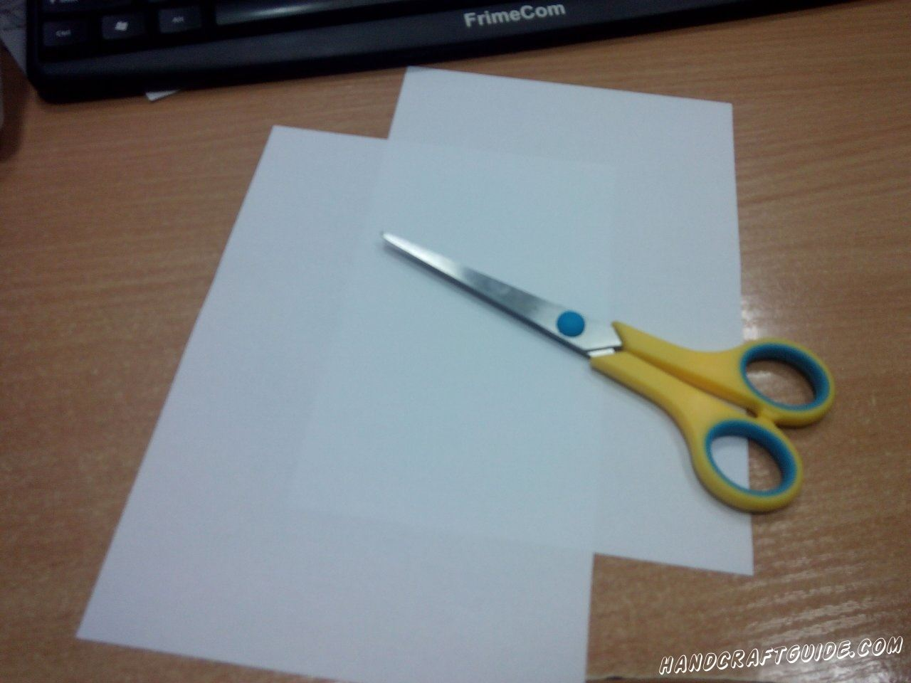 Cut wide stripes out of white paper.