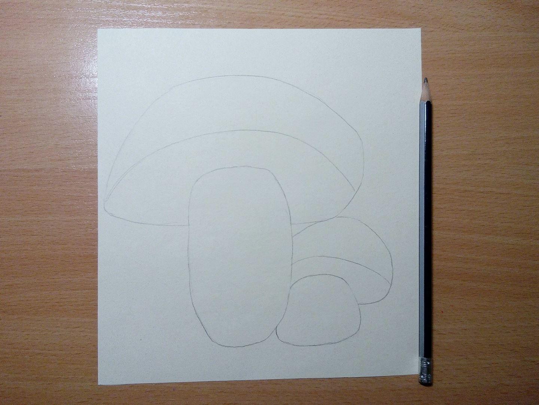 Для начала рисуем на квадратном листе бумаги рисунок грибов,1 большой и 1 маленький рядышком. Чем больше грибочки выйдут, тем красивее