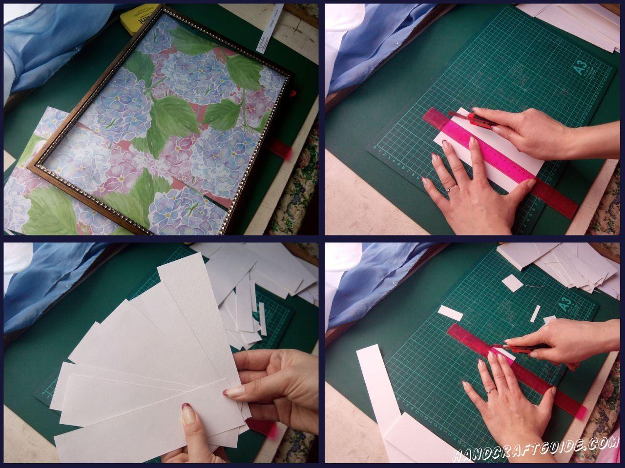 Из белого картона вырезаем полоски