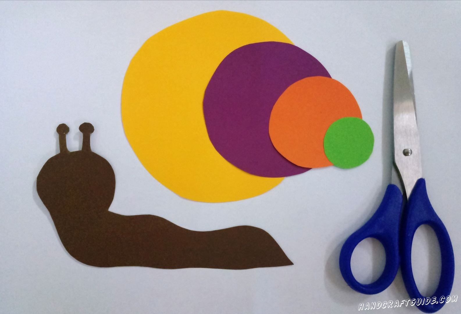 From color paper we cut out the trunk of a snail and circles of different size, as in the photo.