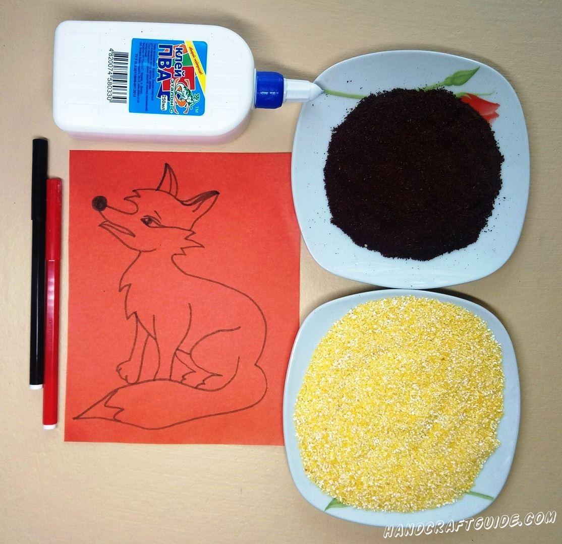 На красном листке бумаги рисуем красивую лисичку