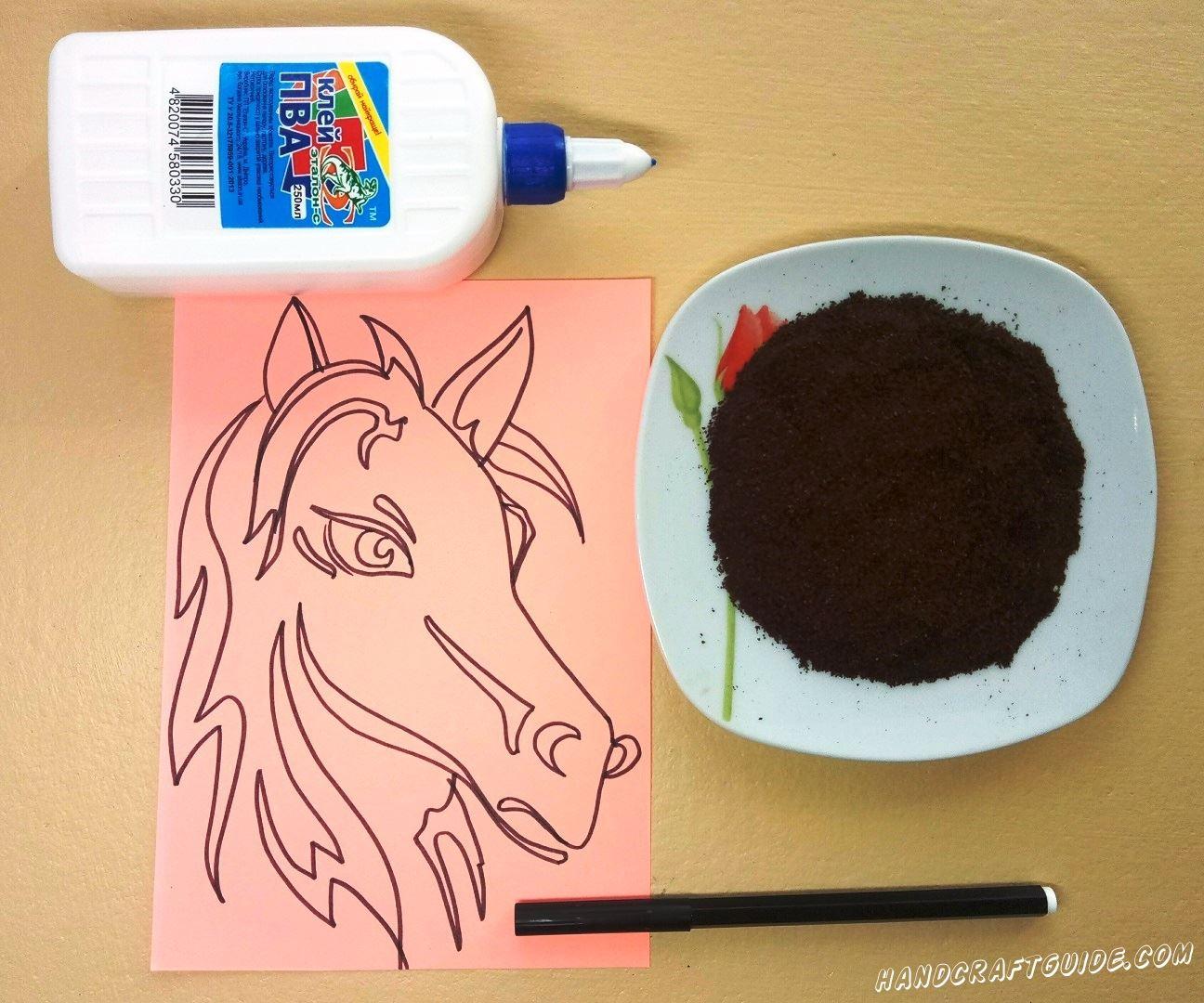 лошадка из кофе