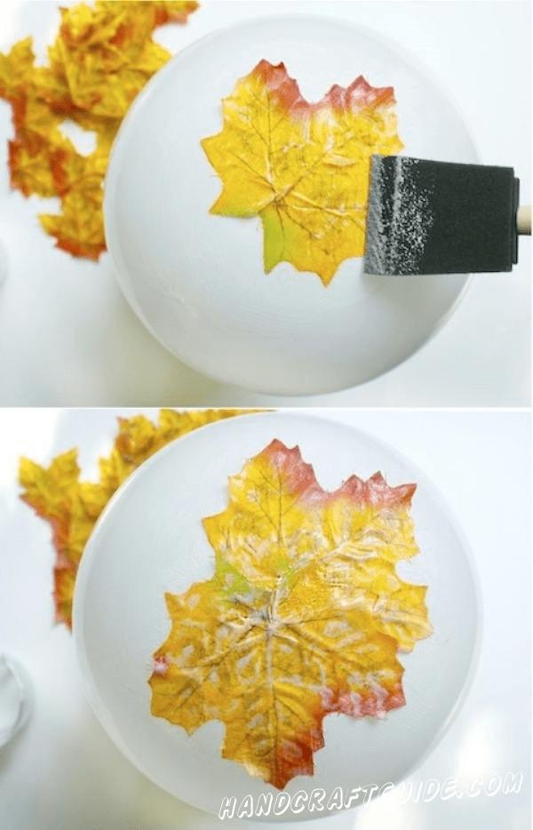 ваза из осенних листьев легко
