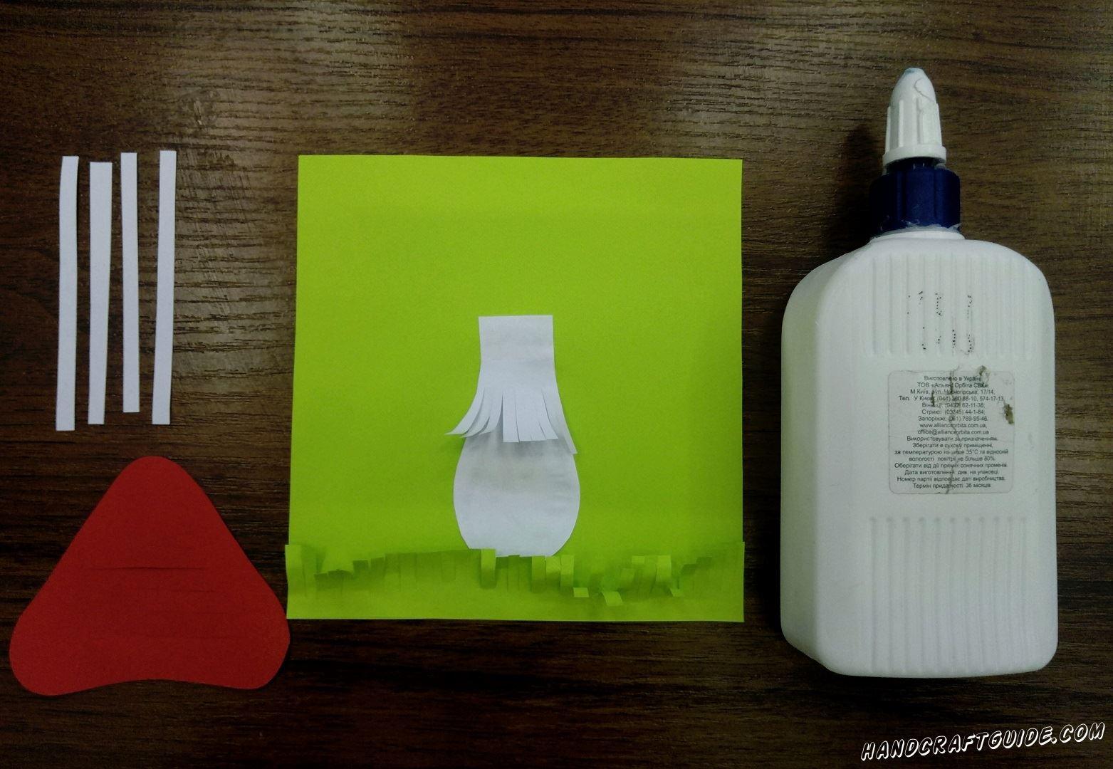 гриб мухомор из цветной бумаги аппликация