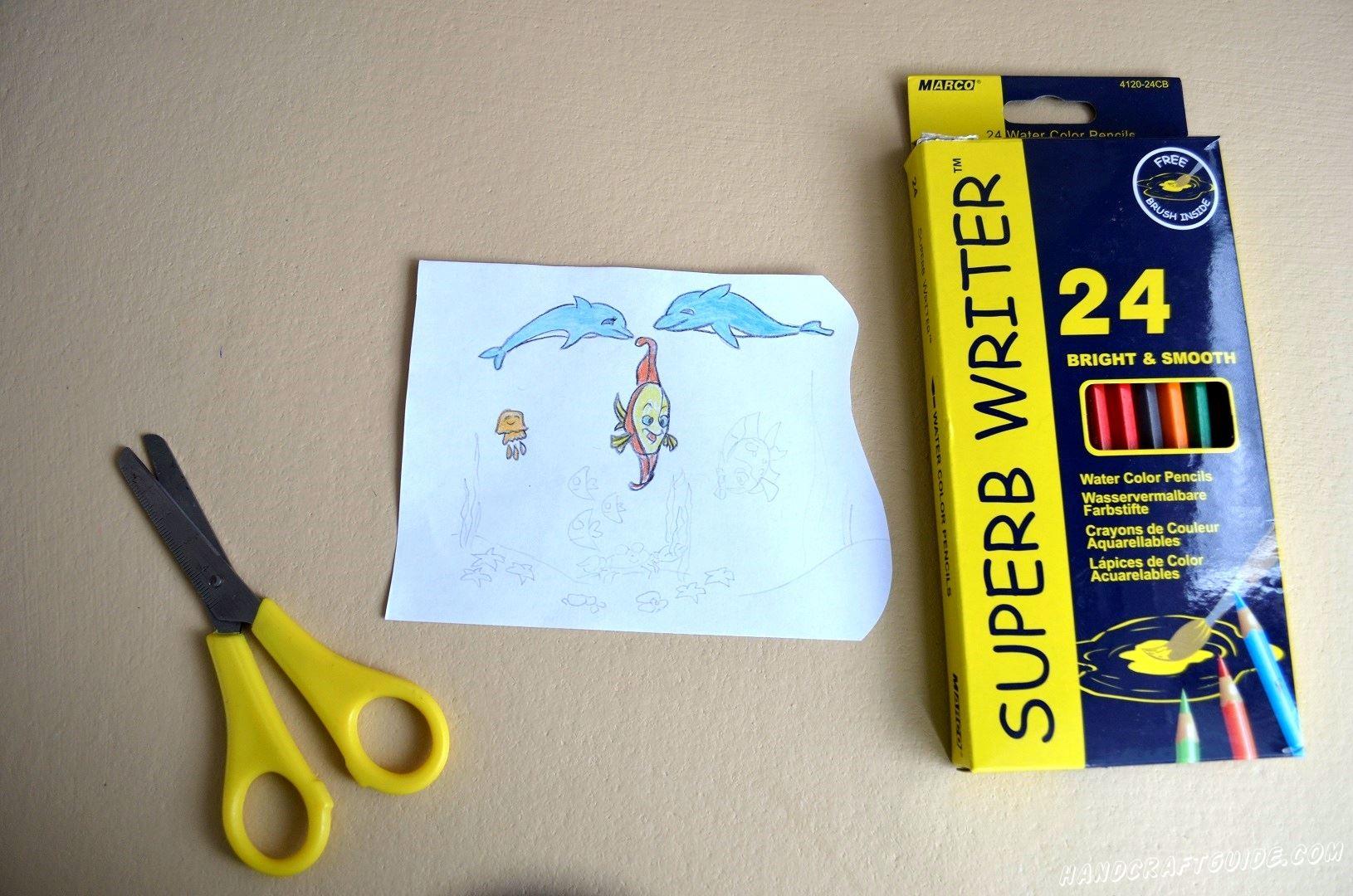 Разрисовываем нашу картинку цветными карандашами