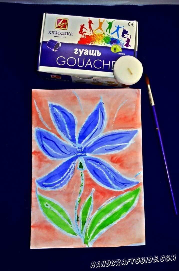 рисунок цветка из подручных материалов