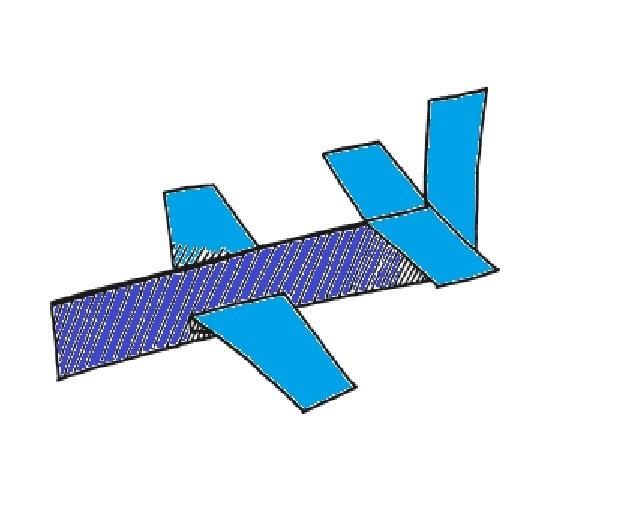 Вырежьте все детали. И разрежьте крылья по линии сгиба. Так что бы у вас получилось две одинаковые детали.  Разрежьте линию с правой стороны, о которой мы говорили ранее. А также аккуратно разрежьте линию сбоку борта самолетика для крыльев. Загните 0.5 см нижнего края крыла самолетика. Теперь вам нужно вставит крылья в разрезы самолетика и приклеить.  Загните детали с левого края внутрь самолетика, так что бы получился острый носик.  А детали с правой стороны загните, так как указано на рисунке.