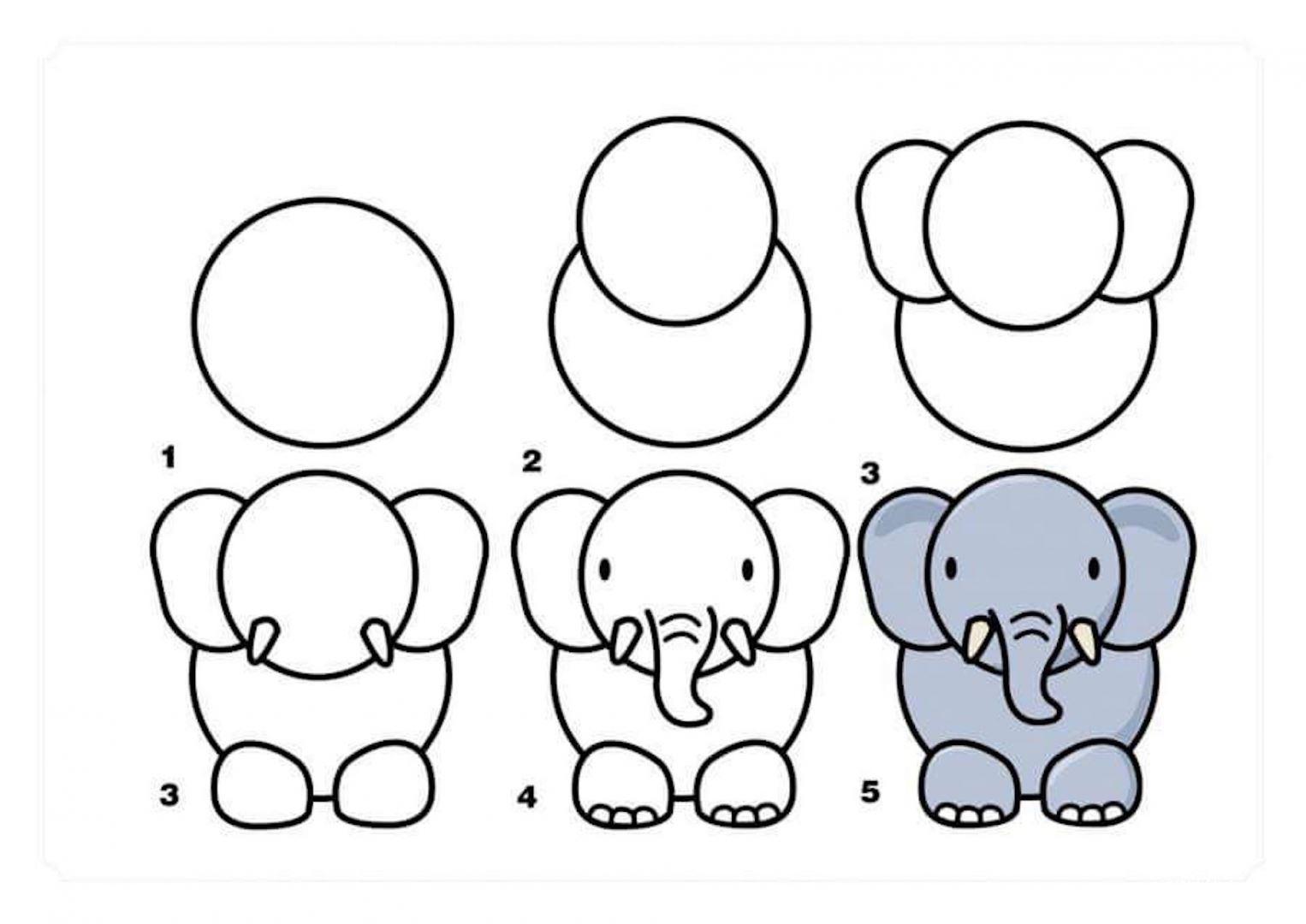 рисунок слон для начинающих